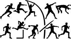Athletics set decathlon Stock Illustration