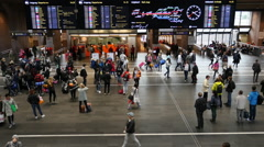Busy Oslo Central Train & Bus Station  - Oslo Norway Stock Footage