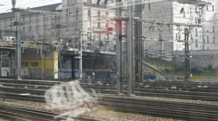 Eurostar train leaving Paris Nord train station to London Stock Footage