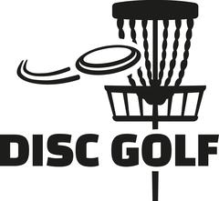 Disc golf with basket and frisbee Stock Illustration