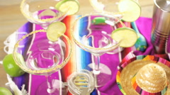 Classic lime margarita with garnish lime and turbinado sugar for Fiesta. - stock footage