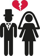 Divorced wedding couple symbol - stock illustration