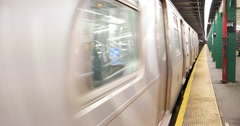 New York City Subway Pulling Out of Station 4K Stock Video Stock Footage