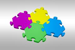 Composite image of piece of jigsaw puzzle - stock illustration