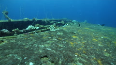 Ocean scenery Japanese Army cargo ship, rusty deck sparsely encrusted with Stock Footage