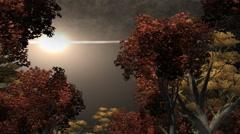 Night sky illuminated by bright light Stock Footage