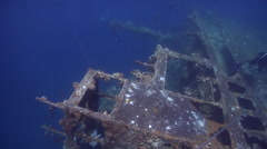 Ocean scenery Japanese Army cargo ship, rusty deck sparsely encrusted with hard Stock Footage