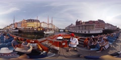 360 video panorama VR of a tourist sightseeing boat turning the Nyhavn Canal Stock Footage