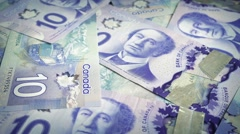 Canadian Ten Dollar Banknotes Rotating Stock Footage
