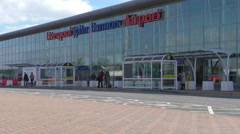 Liverpool airport terminal facade - stock footage