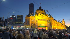 Moving shot of crowd in downtown Melbourne during White Night festival - stock footage