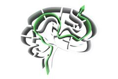Composite image of brain maze with arrow - stock illustration
