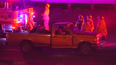Truck Involved In A Crash On The Freeway With Firefighters And Emergency Lights Stock Footage
