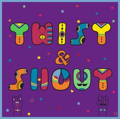 Twist and Shout. Colorful retro font - stock illustration