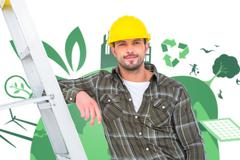 Composite image of smiling handyman in overalls leaning on ladder Stock Photos