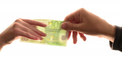 Man loaning hundred euros to woman over white background Stock Footage
