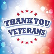 Stock Illustration of thank you veterans banner on celebration background