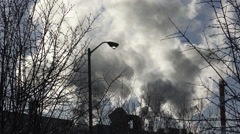 Stock Video Footage of Smoke Stack, Air Pollution, Greenhouse Emissions