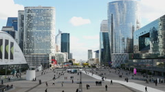 Time Lapse Zoom - People at La Defense Plaza - Daytime - Paris France Stock Footage