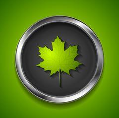 Green summer maple leaf on metal button - stock illustration