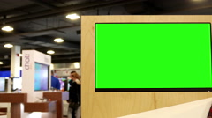 Display green screen tv inside Best buy store Stock Footage