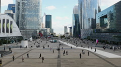 People at La Defense Plaza - Daytime - Paris France Stock Footage