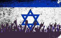 Israel Flag with Audience Stock Illustration