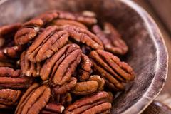 Some Pecan Nuts (selective focus) Stock Photos