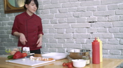 Chief preparing salad, woman  make a healthy organic salad,, mixes it 4k Stock Footage