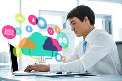 Composite image of apps and cloud computing concept - stock photo