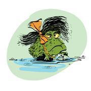 amphibian frog girl - stock illustration