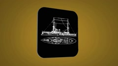 Vector Map intro - boat - Transition Blueprint - yellow 02 - stock footage