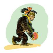 APE female with coconut evolution Stock Illustration