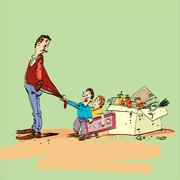 Dad and kids Stock Illustration