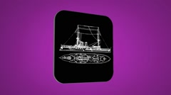 Vector Map intro - boat - Transition Blueprint - purple 02 - stock footage