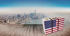 Composite image of american flag on a suitcase - stock illustration