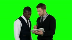 Business people looking for laptop and very happy. Green screen Stock Footage