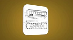 Vector Map intro - Old Train Wagon - Transition Blueprint - yellow 01 Stock Footage
