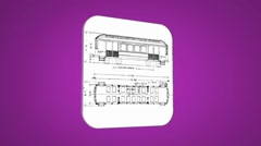 Vector Map intro - Old Train Wagon - Transition Blueprint - purple 01 - stock footage