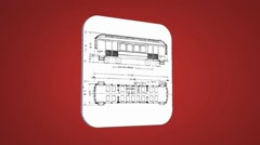 Vector Map intro - Old Train Wagon - Transition Blueprint - red 01 Stock Footage