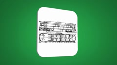 Vector Map intro - Old Wagon - Transition Blueprint - green 01 - stock footage