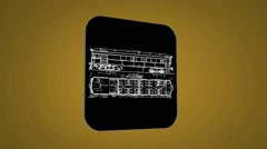 Vector Map intro - Old Wagon - Transition Blueprint - yellow 02 - stock footage