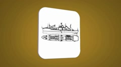 Vector Map intro - Ship - Transition Blueprint - yellow 01 - stock footage