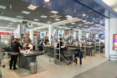 Moscow, Russia - April 04.2016. Supermarket checkout Alye Parusa - stock photo