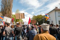 Armenian diaspora protest outside Azerbaijan Embassy - stock photo