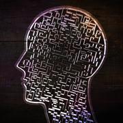 Composite image of maze brain in head Stock Illustration