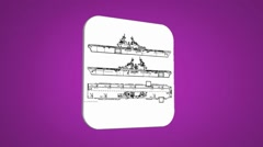 Vector Map intro - Three Ships - Transition Blueprint - purple 01 Stock Footage
