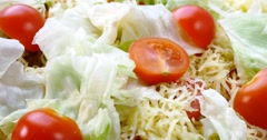 Beautiful colourful caesar salad with dressing croutons and parmesan cheese, hea Stock Footage