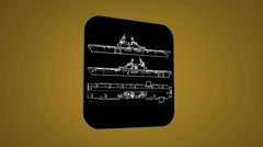 Vector Map intro - Three Ships - Transition Blueprint - yellow 02 - stock footage