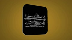 Vector Map intro - Transport boat - Transition Blueprint - yellow 02 - stock footage